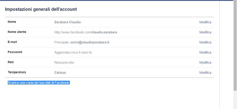 Backup del profilo di facebook